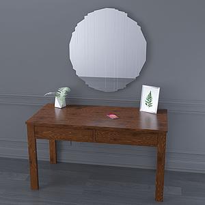 現代鏡子書桌簡約梳妝柜模型