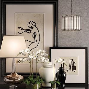 现代花瓶台灯摆设模型
