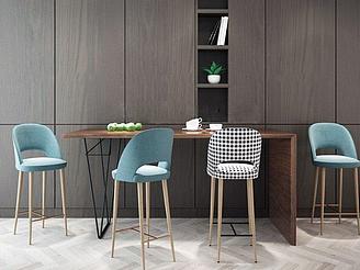 現代簡約桌子吧臺椅組合模型