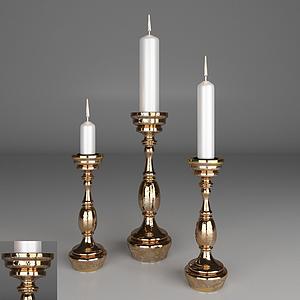 美式蠟燭臺蠟燭燈模型