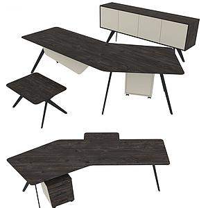 現代簡易辦公椅桌模型