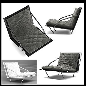 簡歐休閑躺椅單椅模型