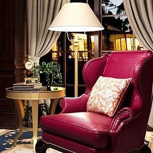 美式休闲沙发边几落地灯组合模型