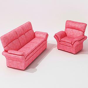 美式粉色皮革單人沙發模型