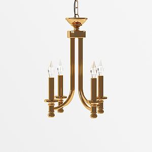 美式蠟燭式吊燈模型