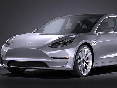 3d特斯拉MODEL 3電動汽車模型
