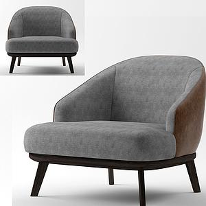 简欧高级灰休闲沙发模型