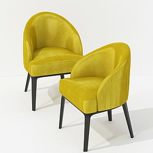 美式靠背休闲饱满椅模型