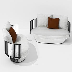 簡歐鐵藝休閑雙人小沙發模型