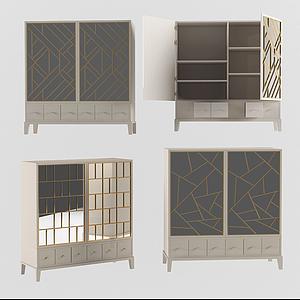 現代裝飾儲物柜邊柜模型