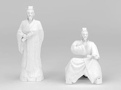 3d古代人物雕塑模型