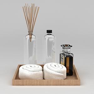 毛巾和洗漱用品模型