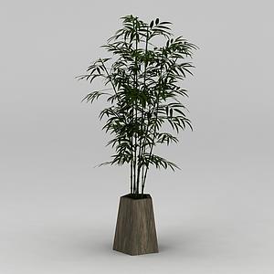 庭院竹子盆栽模型