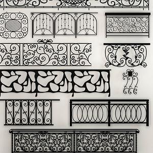 歐式鐵藝欄桿組合模型