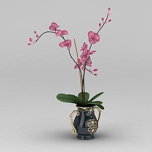 3d仿真蘭花花瓶擺件模型