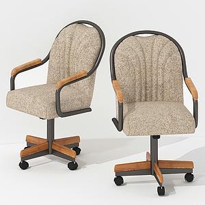 美式休閑移動辦公椅模型