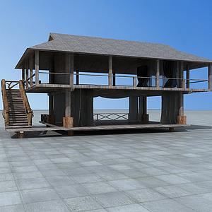 3d二層木屋<font class='myIsRed'>房子</font>模型