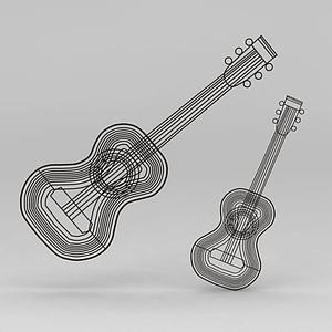 3d吉他乐器铁艺墙饰模型