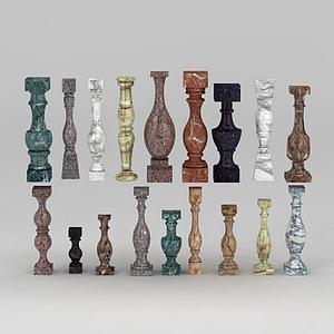 歐式大理石花瓶柱模型