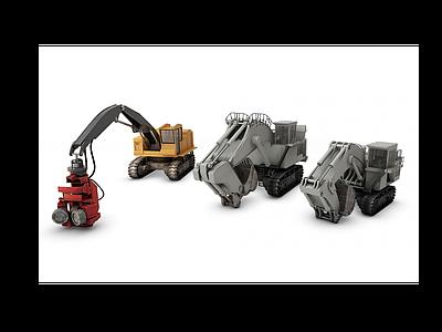 挖掘機模型3d模型