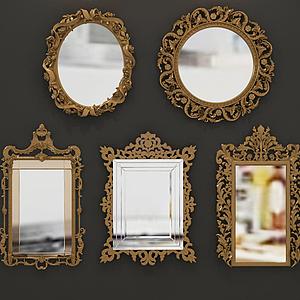 歐式雕花鏡子組合模型