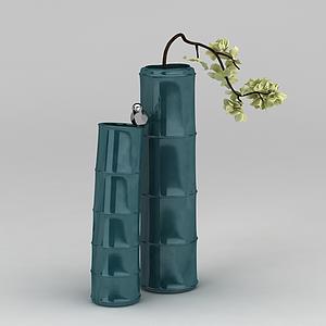 3d仿真綠色竹子花瓶模型