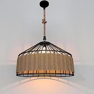 麻绳铁艺吊灯3d模型