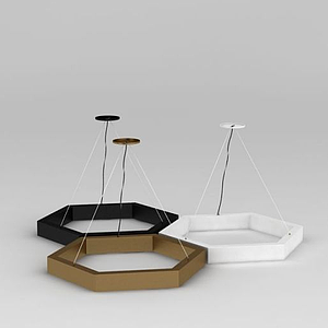3d創意六角形吊燈模型