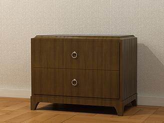 實木床頭柜模型