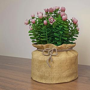 3d粉紅玫瑰花包模型