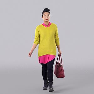3d黃色毛衣女人模型