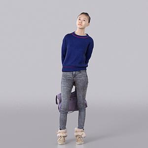 藍色毛衣女孩模型