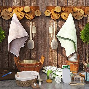 田園風浴室木頭毛巾掛架擺品組合模型