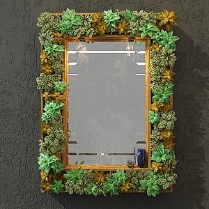 植物裝飾邊框鏡子模型