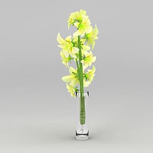 3d黃色玻璃杯裝飾花模型