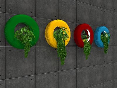 3dloft風綠植輪胎背景墻模型