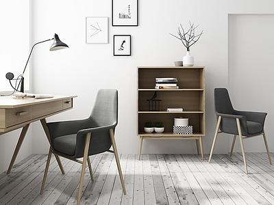 3d現代<font class='myIsRed'>書</font>桌椅實木柜子組合模型