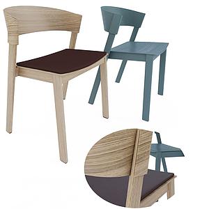北歐簡約素色休閑單椅模型