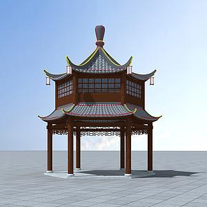 3d雙層六角亭模型