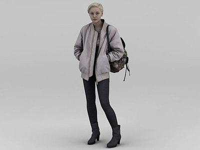 3d背包女人模型