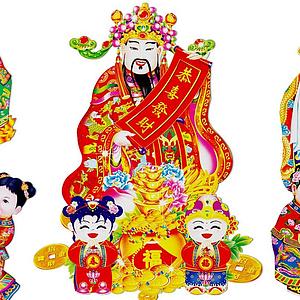 中式財神金童玉女年畫剪紙模型