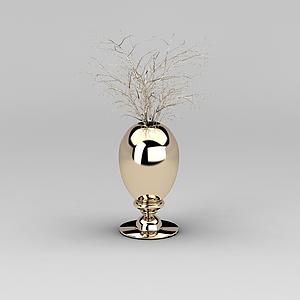 3d玫瑰金干枝花瓶模型