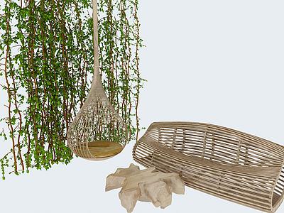 3d田園藤藝吊椅創意木椅組合模型