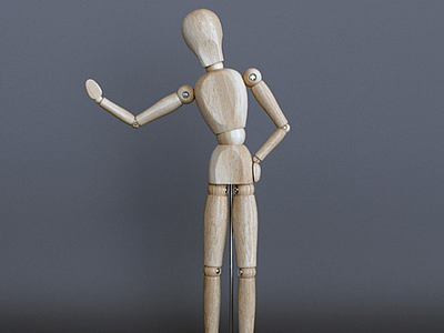 3d木質人偶擺件模型