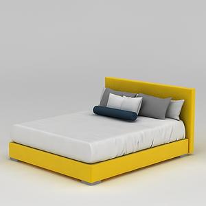 3d時尚黃色雙人床模型
