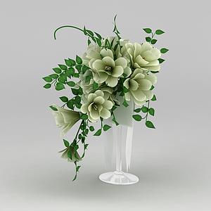 3d室內仿真花瓶擺件模型