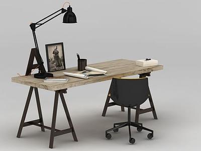 3d北歐小<font class='myIsRed'>書</font>桌椅模型