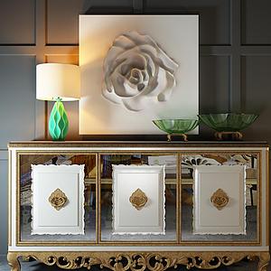 3d歐式玄關柜立體玫瑰花掛畫模型