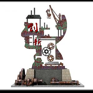 工業風抽象藝術船錨雕塑模型