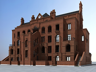 美式褐石建筑模型